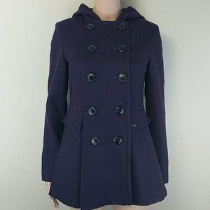 Miss Sixty Purple hooded Wool Peacoat